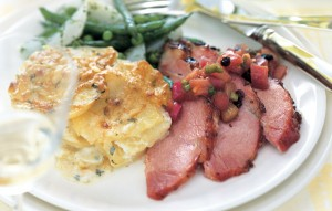 12 Festive Easter Recipes: Baked Ham with Mustard-Red Currant Glaze and Rhubarb Chutney   OnceAMomAlwaysAMom.com